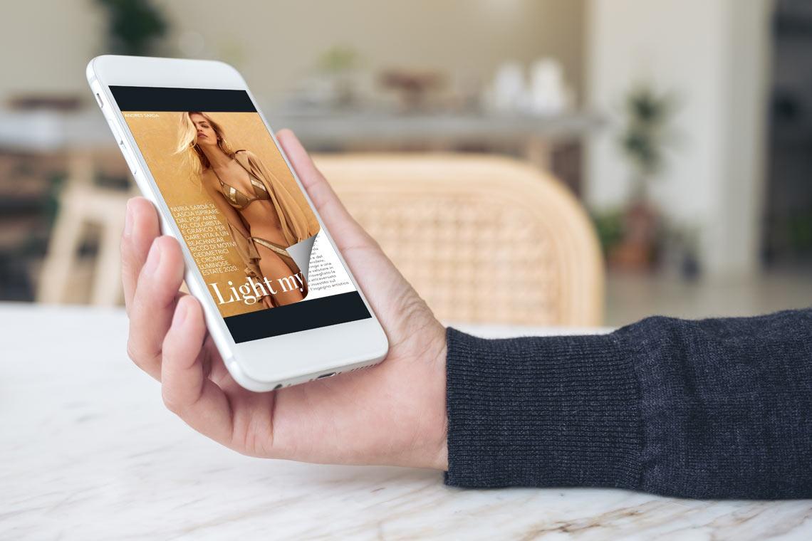 Flipbook PDF sul smartphone con un effetto di capovolgimento di pagina